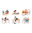 collection man and woman at home work or job vector image