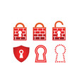 collection of padlock firewall vector image