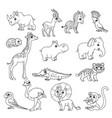 Cute cartoon various african animals set black