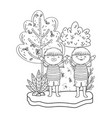 cute little girls in the landscape vector image