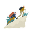 cute romantic couple climbing up cliff or mountain vector image vector image