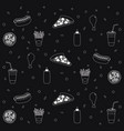 delicious fast food pattern background vector image