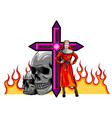 devil nun with skull evil halloween concept flat vector image vector image