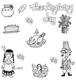 Doodle of Thanksgiving indian people and food vector image