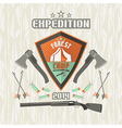 Expedition emblem forest camp vector image vector image