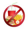 fast food danger label no food or drinks vector image vector image