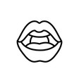 female lips teeth icon on white background thick vector image