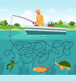 fishing maze game funny fisherman with vector image vector image