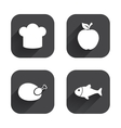 Food icons Apple fruit with leaf symbol vector image