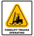 Forklift truck sign Symbol of threat alert vector image vector image