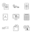 Funding icons set outline style vector image vector image