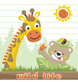 funny animals cartoon at summer on striped vector image