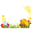 Funny bird in the nest vector image vector image