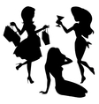 Girl silhouettes set vector image vector image