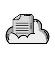 grayscale cloud data with digital document vector image vector image