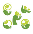 hand and leaves vector image