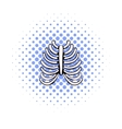 Human rib cage icon comics style vector image vector image