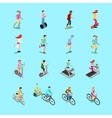 Isometric Sporting People Set Running People vector image vector image