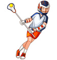 Man playing lacrosse with net and ball vector image
