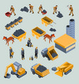 mine quarry workers and machines isometric vector image