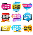 money cash back labels and stickers set vector image vector image