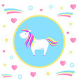 mysterious unicorn with rainbow mane and sharp vector image vector image