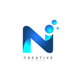 n letter logo design with 3d and ribbon effect vector image vector image