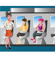 passenger woman character sitting in chair vector image vector image