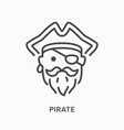 pirate head flat line icon outline vector image vector image