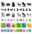 realistic animals flat icons in set collection for vector image