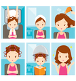 Relaxing Girl In Hair Salon Set vector image