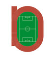 running athletics track with soccer stadium top v vector image