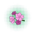 Sakura icon in comics style vector image