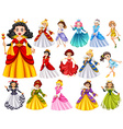 Set of beautiful queens and princess vector image vector image