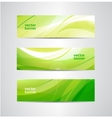 set of green eco wavy banners vector image vector image