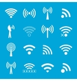 set of white wifi icons on blue background vector image
