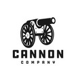 silhouette cannon logo vector image vector image