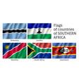 southern africa flat flag set vector image