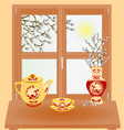 Spring window with pussy willow vase and tea set vector image