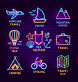 summer travel neon label set vector image vector image