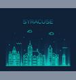 syracuse skyline new york usa linear style vector image