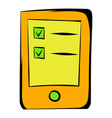 tablet with the objectives of icon cartoon vector image vector image