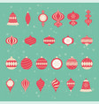 vintage christmas ball ornament set vector image