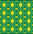 yellow flowers and green leaves mid-century art vector image vector image