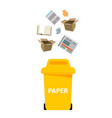 yellow paper bin white background image vector image vector image