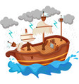 broken yacht cartoon by storm vector image