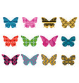 butterflies with a pattern on a white background vector image