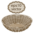 Light brown round wicker basket handmade vector image