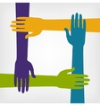 teamwork concept with hands vector image