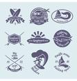 Surfing labels set vector image